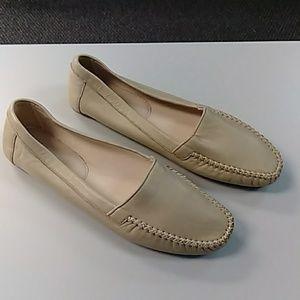 Prada tan soft leather flats loafers 38.5 8 NWOB